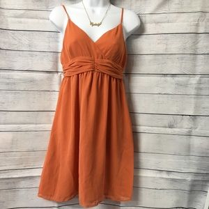 ELLE Burnt Orange Chiffon Party Dress